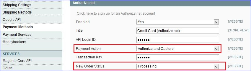 This image shows the Payment Action and the New Order Status options.
