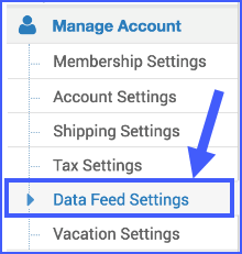 The image shows the Data Feed Settings.