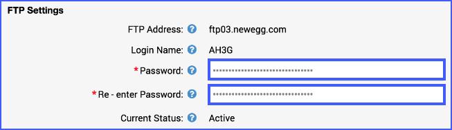 The image shows the FTP Settings.