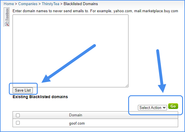 blacklisted domains sellercloud email settings