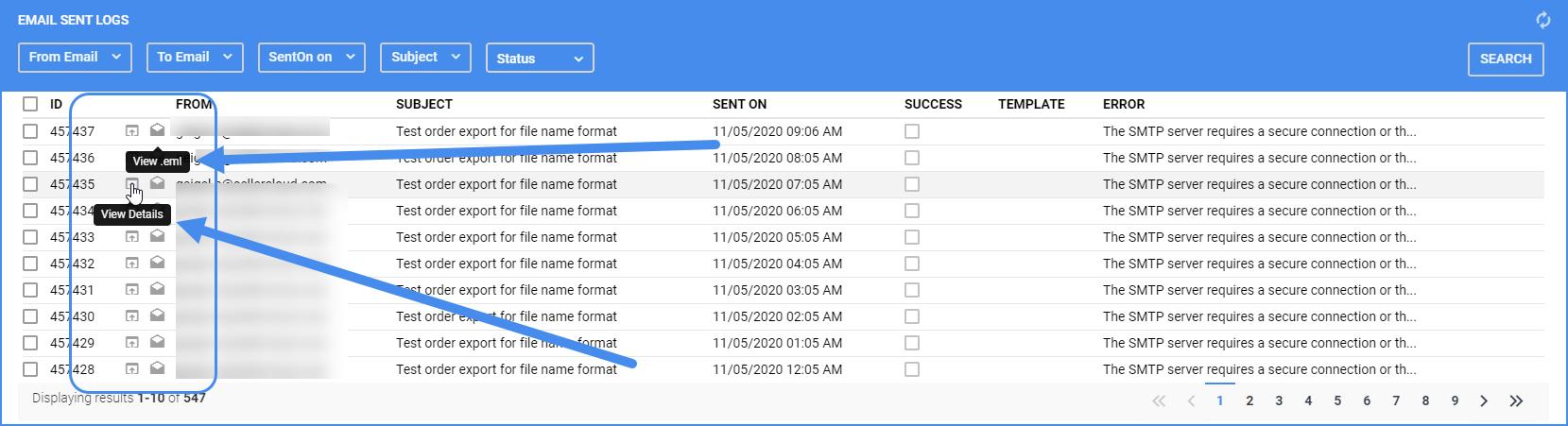 delta email sent log