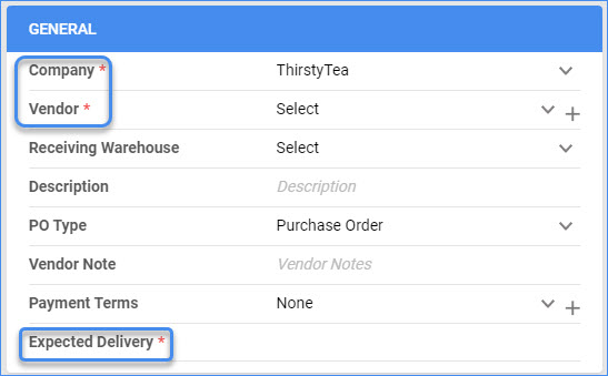 sellercloud delta create a new purchase order