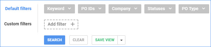 sellercloud manage pos default and custom filters search