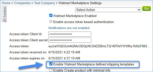 Enable Walmart Marketplace Defined Shipping Templates Alpha interface