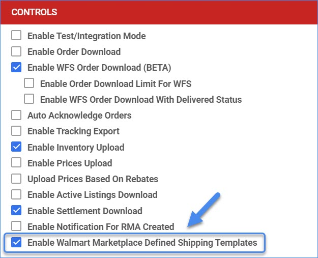 Enable Walmart Marketplace Defined Shipping Templates