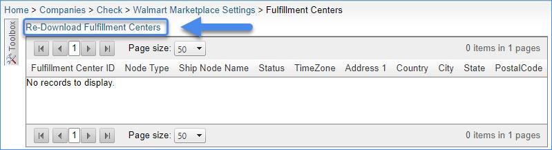 Re-Download Fulfillment Centers
