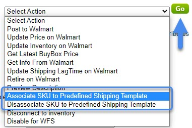 associate and disassociate SKU to predefined shipping template