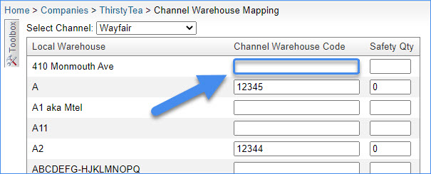 sellercloud wayfair channel warehouse mapping