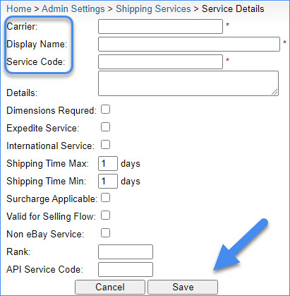sellercloud admin settings add new shipping carrier