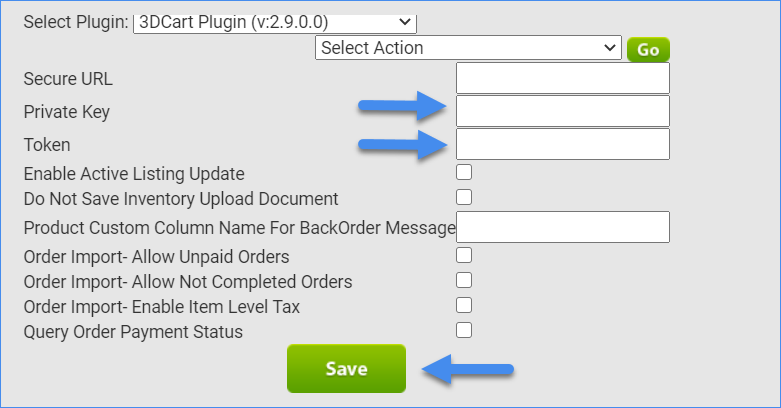 The image shows three options - Private Key, Token, Save button.