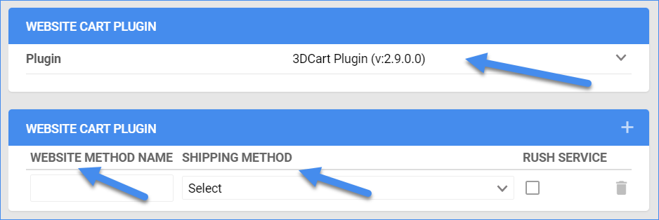 The image shows the Plugin, the Website Method Name, andthe ShippingMethod options.
