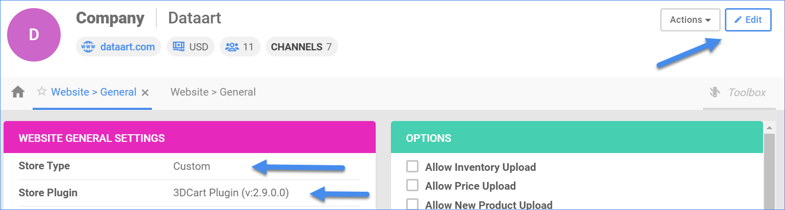 Shows the Edit button, the Store Type dropdown, and theStore Plugin dropdown.