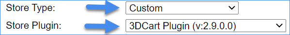 Shows that the Store type is set to Custom and that the Store Plugin is set to 3DCartPlugin.