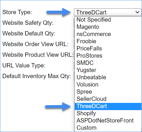 The image shows how to choose the ThreeDCart option from the Store Type dropdown menu.
