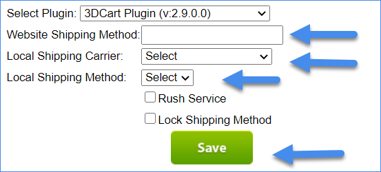 The image shows the Website Shipping Method, the Local Shipping Carrier, and the Local Shipping Method options.