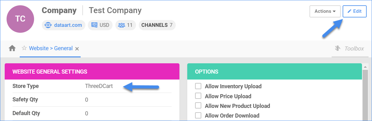 Shows the Edit option and the Store Type dropdown.