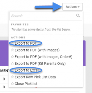 sellercloud picklist export to pdf export to excel
