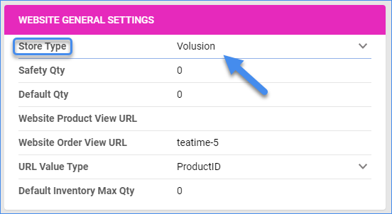 sellercloud volusion website general settings