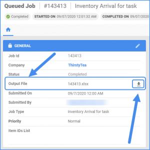sellercloud queued jobs details output file