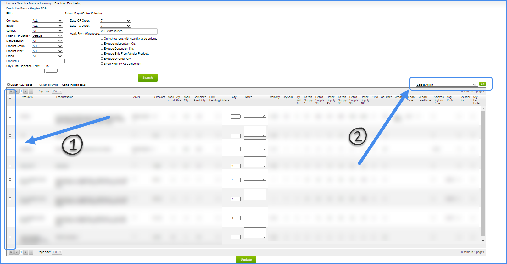 sellercloud predictive purchasing export file excel