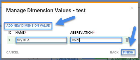 sellercloud manage dimension values