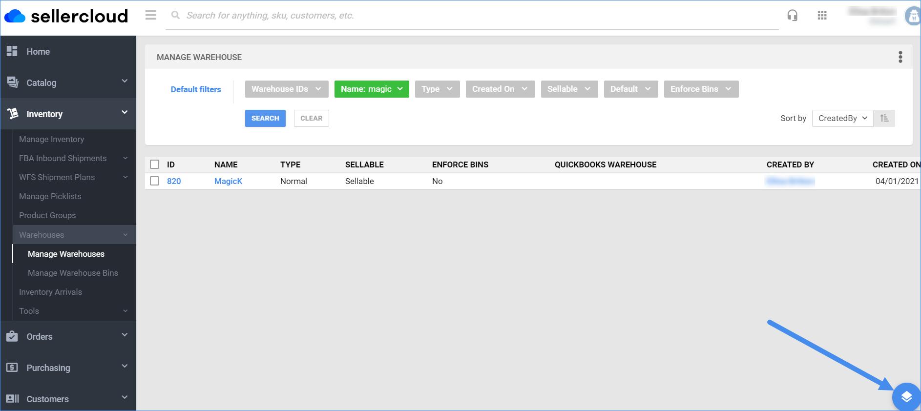 inventory warehouse action menu delta sellercloud