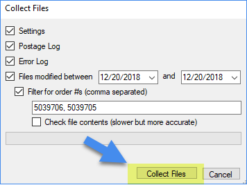 collecting files settings
