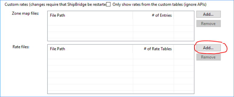 importing rates into ShipBridge