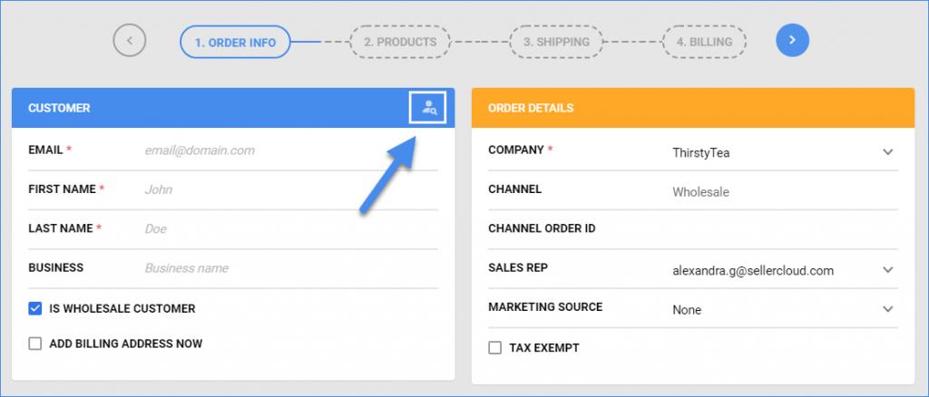 sellercloud find customer create new order