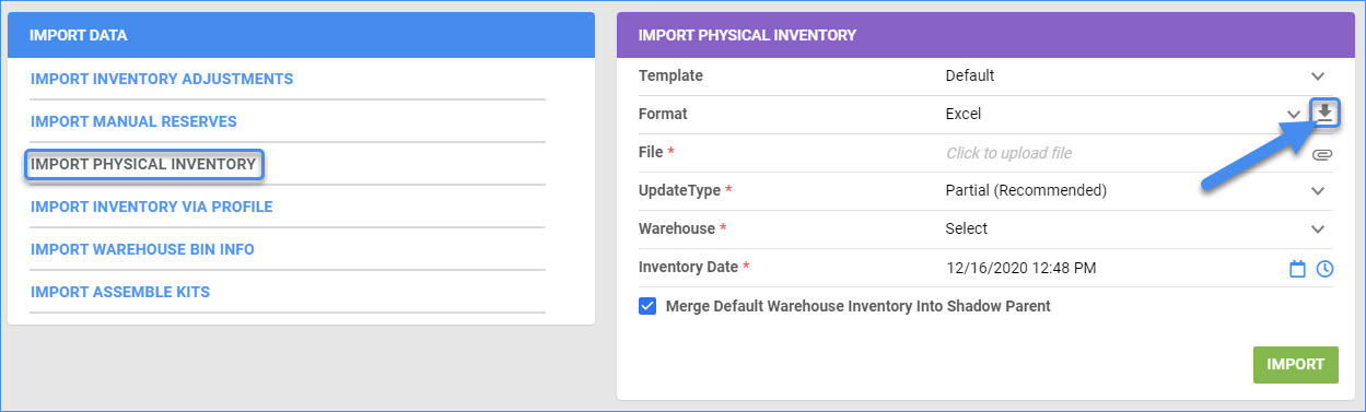 sellercloud delta import physical inventory bulk update file