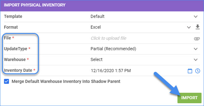 serllercloud delta import file physical inventory