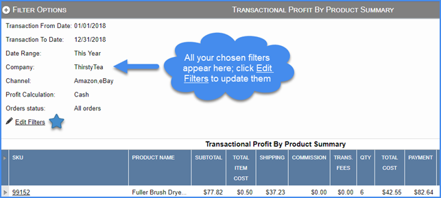 sellercloud FAQ about reports transaction profit by product summary