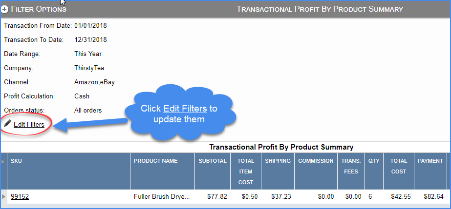 sellercloud FAQ about reports filters change