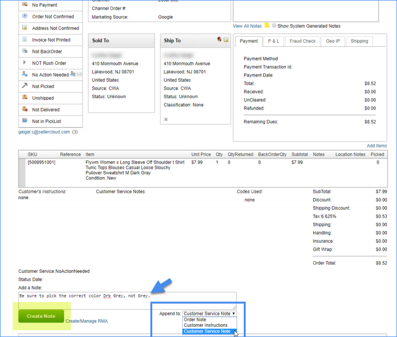 sellercloud acknowledge order notes and warnings