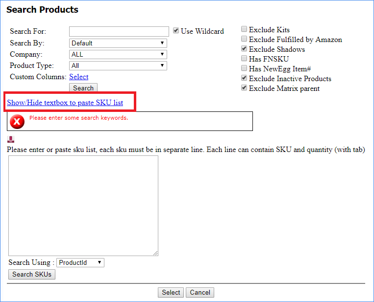 sellercloud alpha manage inventory search by sku list