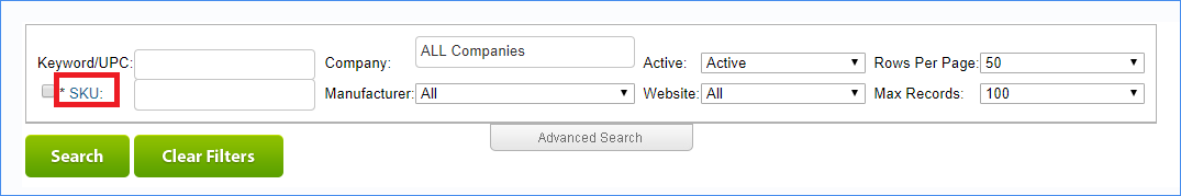 sellercloud manage inventory advanced search