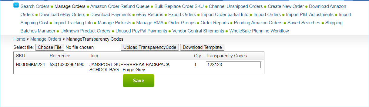 manage transparency codes