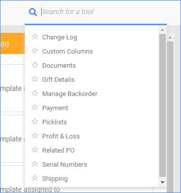 Sellercloud order details page toolbox