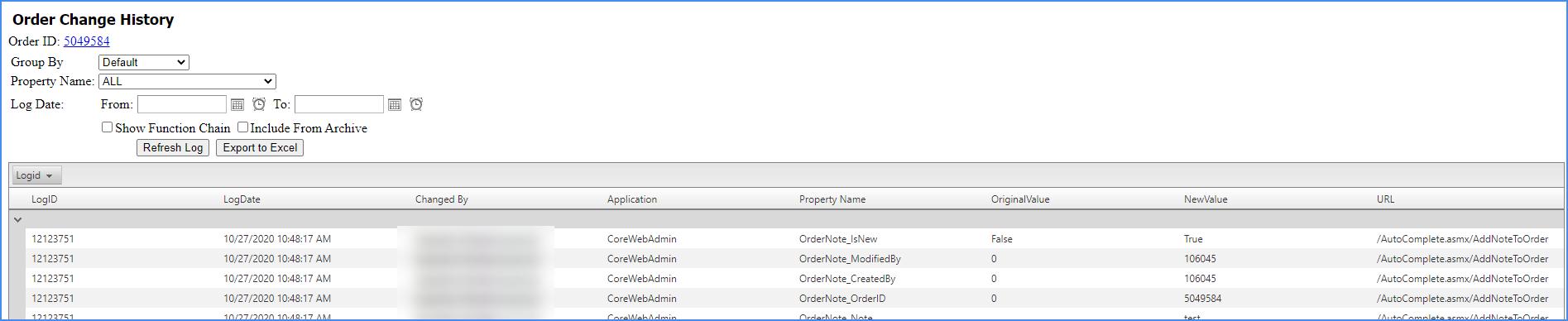 sellercloud order change log order details page order details change log history