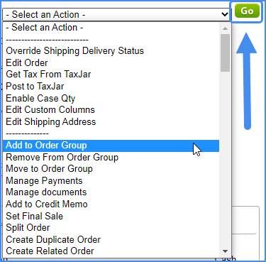 order details page sellercloud alpha original interface details order perform actions action menu dropdown