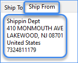 Ship from address