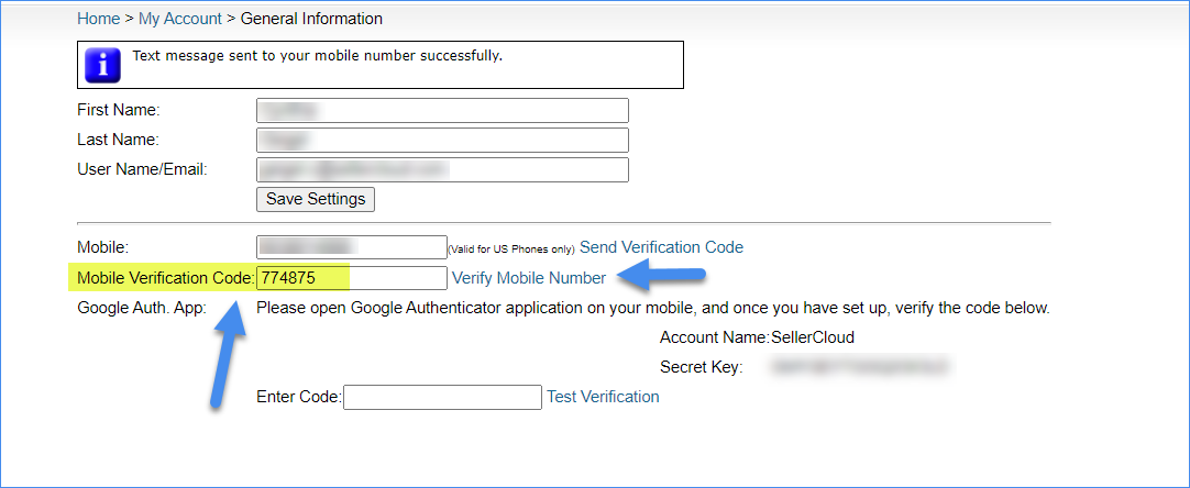 sms setup for two factor authentication