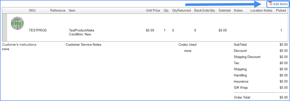 sellercloud add items order details page original interface manage orders