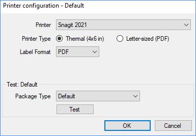 Printer configuration window