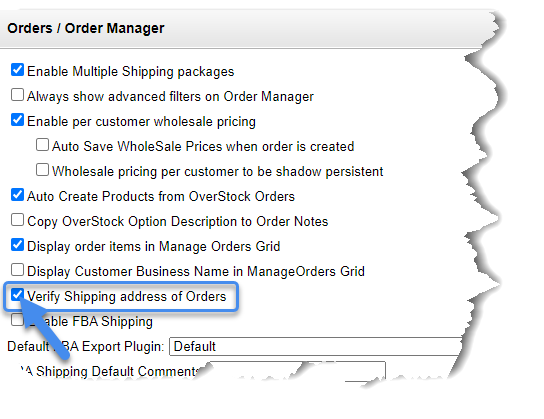 Verify shipping address of orders setting