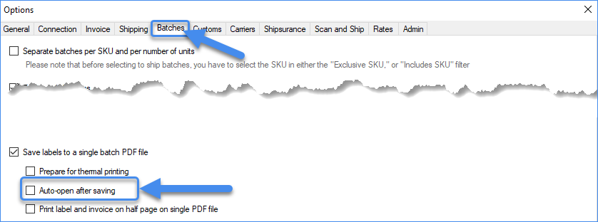 Auto-open after saving setting