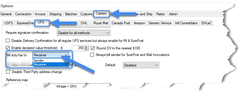 Duties and taxes settings