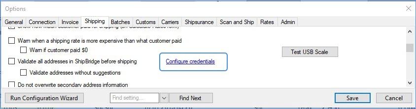 configure credentials