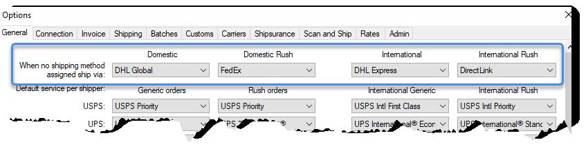 Default shipping method options