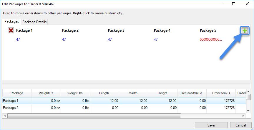 Edit packages window